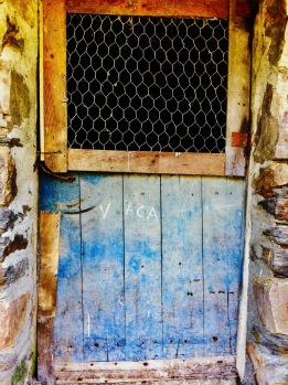 old door, half wooden in blue and half open, asturias, north of Spain