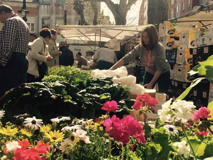 selling flowers in a local market