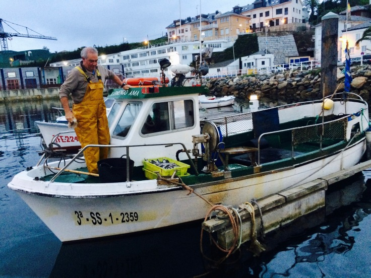 fisherman inside a fishing boat in the harbour, north of Spain, Asturias, Figueras